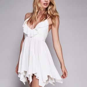Free People Solid Ruffle Fit and Flare Dress
